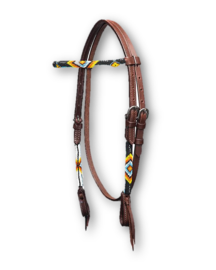 Western Headstall Beaded Dark Fire
