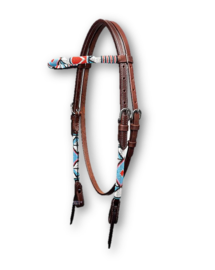 Western Headstall Beaded Dark Indian