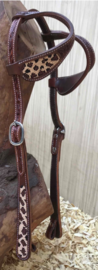 Western Headstall Two Ear Leopard